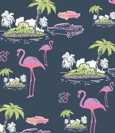 Illustration for boyswear all-over print by Jim Otton. Range: Directors Cut. Cadillacs and Flamingos