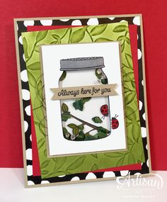 Bring back childhood memories with a bug jar - shaker card, created with the Boxwood Wreath embellishments and the adorable stamp set: Sharing Sweet Thoughts by Stampin' Up!