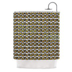 Aztec Triangles Gold by Pom Graphic Design Shower Curtain