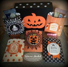 Siara Sweet Sensations: Team Stamp It Halloween & Fall Blog Hop. Stampin Up Sweet Hauntings stamp set. Mini Treat bag die. Happy Haunting designer paper