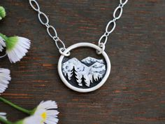 Mountain Landscape Necklace - Circle Nature Pendant - Sterling Silver Metalwork - Nature Lover Gift - Everyday Necklace