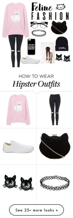 """Feline Fashion"" by not-a-fairy-tale-101 on Polyvore featuring Topshop, New Look, Boohoo, Betsey Johnson, Converse, Casetify, cats, feline, catstyle and felinefashion"