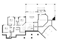 Craftsman Style House Plan - 4 Beds 3.5 Baths 5155 Sq/Ft Plan #48-607 - Eplans.com Duplex House Plans, Craftsman Style House Plans, House Floor Plans, Mountain House Plans, Family House Plans, Built In Wine Cooler, Bar Plans, Lodge Style, Decks And Porches
