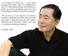 """George Takei says: """"Thanks for sharing my message, friends."""""""