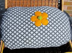 Hand Sewn Upcycled Quilted Pillow With Felted Flower