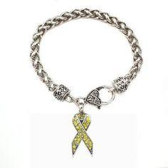 1 Carat Yellow Awareness Ribbon Bracelet - a sterling silver bracelet. I want!!!