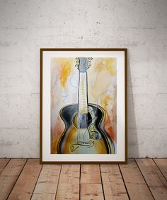 Watercolor Acoustic Guitar Print, Stringed Instrument, Guitar Art, Music Lovers, Gift, Modern Print, Apartment Wall Art, by Kikajo Ink by KikajoInk on Etsy