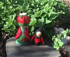 Strawberry Blossom Peg Gnome Large by WillowHollowHandmade on Etsy