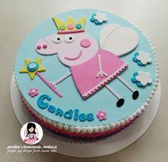Peppa pig fairy princess design fresh cream cake