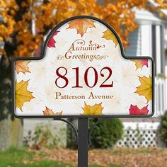 Can't wait for Fall Leaves! This design is so elegant! It's the Autumn Greetings© Yard Stake With Magnet from PMall - you can personalize the magnet with all your own info and then check out all their other magnet designs that you can switch out for other holidays, seasons, birthdays, etc.! Such a great idea! #Fall #Autumn #Thanksgiving #Leaves #Garden