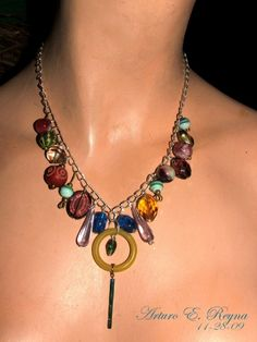 ART DECO MULTI COLOR & SHAPE ART CZECH GLASS BEADS NECKLACE | eBay