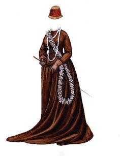 QUEEN EMMA OF HAWAII  ~ Ƹ̴Ӂ̴Ʒ ~ Emma Kalanlkaumakaamano Kale Leonalani Na'ea Rooke was QUEEN CONSORT of king Kamehameha IV of HAWAII. She liked to dress in the height of European fashion and was often photographed. Her favorite residence was the summer palace shown on page one. The lilies at the dolls feet are named for her. from ROYALTY Paper Dolls by Brenda Sneathen Mattox