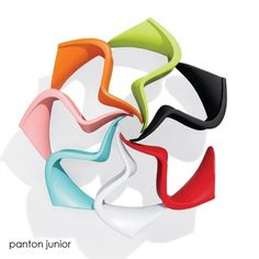 Panton Junior Chair by Vitra bVerner Panton, The Panton Chair has always been a favorite of children. They not only like its bright, cheerful colors and smooth curves, but the fact that it is as much fun to play wi. Panton Chair, Pantone, Plastic Chair Design, Beauty Chair, Futuristic Design, Modern Kids, Recycled Crafts, Cool Rooms, Danish Design