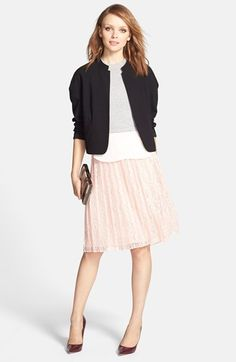 Chelsea28 Open Front Jacket & Pleated Lace Skirt  available at #Nordstrom