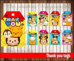 80% OFF SALE Tsum Tsum Thank you Tags instant by mrkitspartyshop