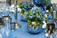 Wedding Wednesday : Beautiful floral designs by Rob van Helden at The Jewels of Mayfair event Wedding Table Flowers, Floral Wedding, Floral Designs, Blue And Silver, Blue Flowers, Tablescapes, Flower Arrangements, Bouquets, Wednesday