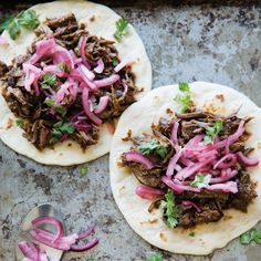 Ancho Short Rib Tacos with Pickled Red Onions