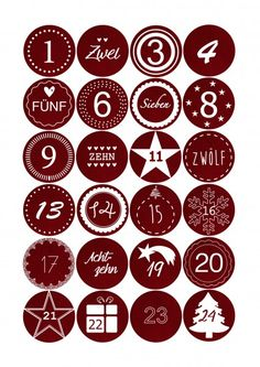 Adventskalender Sticker - Stoffoptik Rot
