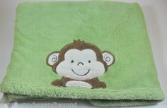 Tiddliwinks Monkey Baby Blanket Green Safari Friends Embroidered Boa