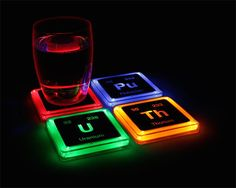 Radioactive Elements Glowing Coaster Set - https://ello.co/thegadgetflow/post/Hn8SV2burBjkV2KTSg6o6g