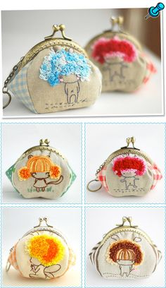 This morning I stumbled upon these adorable hand sewn coin purses from UK based designer lazydoll. Each purse is made from cotton and linen with a metal frame a