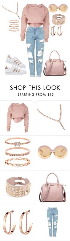 """Casual"" by ayeeeitsfatso on Polyvore featuring Accessorize, Karen Walker, Valentino, Jenny Bird, Topshop and adidas Originals"