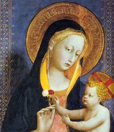 Fra Angelico:  Virgin and Child, Retable de San Domenico (détail, 1423-1424, tempera on wood, Church of San Domenico)