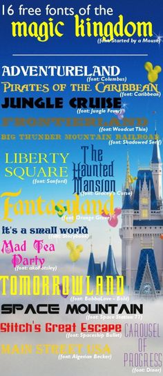 16 Magic Kingdom fonts (and they're all free) - free Disney World fonts for Pirates of the Caribbean, Jungle Cruise, It's a Small World, The Haunted Mansion + lots of others THESE ARE AMAZING Disney Diy, Disney Crafts, Disney Love, Disney Magic, Walt Disney, Disney 2017, Disney Ideas, Disney Parks, Disney Planning