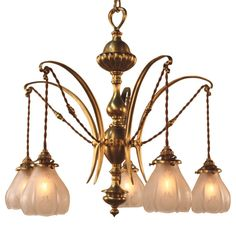 English Art Nouveau Chandelier  ENGLAND  1900  ENGLISH BRUSHED BRASS FITTED WITH FIVE ACID ETCHED GLASS SHADE , HANGING WIRE IS NEW TWISTED SILK COVER AS ORIGINAL