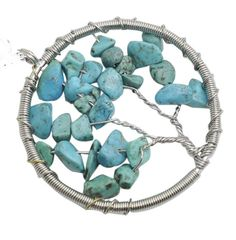 Tree of life  Wire Wrapped Chip Turquoise Pendant ,Silver Brass finding with chip gemstone, gem stone Pendant 12pcs/lot
