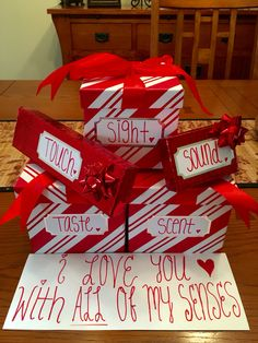 Gift idea for him! Used the 5 senses to incorporate 5 gifts for Valentine's Day!