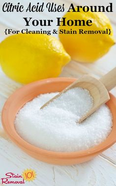 Here is a round up of citric acid uses for around your home for cleaning and stain removal by using this natural product, including some homemade cleaning recipes on Stain Removal 101 Homemade Cleaning Products, Cleaning Recipes, Natural Cleaning Products, Cleaning Hacks, Cleaning Solutions, Cleaning Checklist, Organizing Tips, Natural Products, Organization