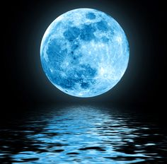 Photo about Full blue moon over water with reflections. Image of horizon, artistic, fantasy - 22297973 Image Bleu, Full Blue Moon, Big Moon, Moon Over Water, Shoot The Moon, Moon Photos, Beautiful Moon, Beautiful Words, Moon Lovers