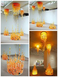 To create this work, thousands of empty prescription pill bottles were collected from nursing homes, pharmacies and individuals' medicine cabinets. Like stalactites and stalagmites, the constructions hang down from above and grow upwards from the floor below. Chemical Balance speaks to our culture…