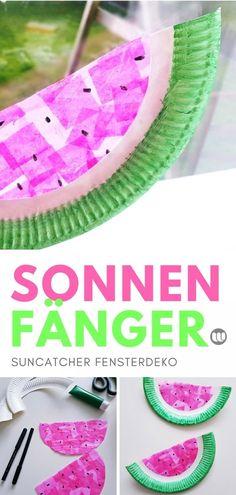 #Pappteller #Bastelanleitug #Kinder #Grundschule #Basteln #Fensterbild #Wassermelone #Sommerdeko #Fensterdeko
