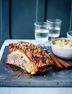 Slow-roast pork belly with apple, celeriac and fennel slaw | This is a fantastic roast recipe for two. One to try this weekend! The combination of pork and apple slaw is out of this world!