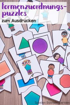 Form-mapping puzzles for printing- # printing puzzles – # … - Kinderspiele Shape Matching, Simple Shapes, Montessori, Activities For Kids, Homeschool, Arts And Crafts, Parenting, Kids Rugs, Map
