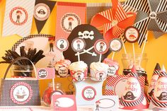 Instant Download Pirate Birthday Printable Party Kit with Editable Text for YOU to PERSONALIZE