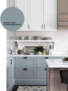 10 Really Amazing Blue-Gray Paint Colors in action - Chris Loves Julia- water'. 10 Really Amazing Blue-Gray Paint Colors in action - Chris Loves Julia- water's edge by Benjamin Moore. For front door and bookshelf under the staircase. Kitchen Cabinet Colors, Diy Kitchen Cabinets, Painting Kitchen Cabinets, Kitchen Redo, Kitchen Remodel, Chalk Paint Cabinets, Room Kitchen, Design Kitchen, Kitchen Renovations