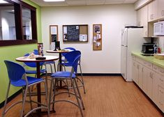 Immaculate Blue High Armless Stools And Small Pedestal Table As Well As Mini Kitchen In Small Office Break Room Ideas
