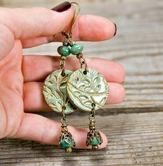Vintage style sage earrings leaf pendant by MountainLakeJewelry