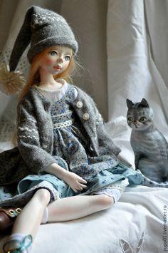 Купить Авторская кукла Катюша - серый, коллекционная кукла, кукла ручной работы, авторская кукла