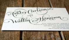 Vintage Wedding Invitation Elegant and Modern Calligraphy Script -Shabby Chic