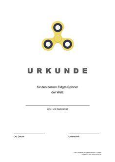 Gratis-Vorlage: Fidget Spinner Urkunde (word/pdf)