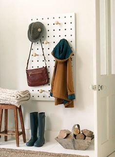 entry way, Pegboard coat rack in plywood midcentury-clothes-racks