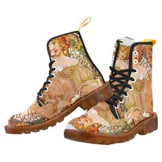 Alphonse Mucha Dreaming (Reverie) Martin Boots For Men Model 1203H