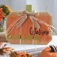 Wood Plank Welcome Pumpkin Easel | Kirklands