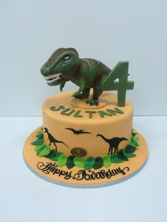T-Rex Cake Dinasour Birthday Cake, 4th Birthday Cakes, Dinosaur Birthday Party, Happy Birthday, Birthday Cake Toppers, T Rex Cake, Dino Cake, Dinosaur Cake, Frog Cakes