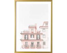 Lisbon Photography Print Pastel Pink Wall Art Portugal Room Decor