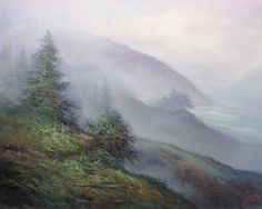 ORIGINAL FINE ART    Impresionist Oil Painting  Mountain scene    Oil Paintings on a 16x20 canvas Frame is not included in the sale.    An early morning drive, a vew from the mountain on the way to Big Sur Coast in California. Painted with oils in tones of green, brown, sepia, blue and white, finished with protective varnish.    Signed by California Artist Griselda Tello.    I am a self representing full time artist and have been selling my paintings for the past 40 years. You can find my…